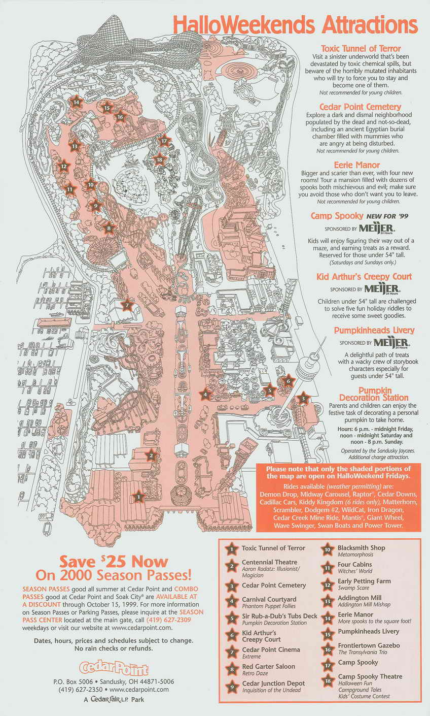 1999 Cedar Point Halloweekend Park Guide